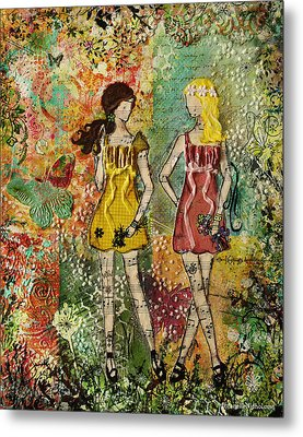 Days Like These Unique Botanical Mixed Media Artwork Of Sisters And Friends Metal Print by Janelle Nichol