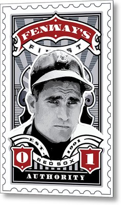 Dcla Bobby Doerr Fenway's Finest Stamp Art Metal Print by David Cook Los Angeles