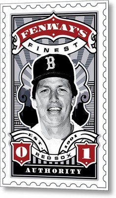 Dcla Carlton Fisk Fenway's Finest Stamp Art Metal Print by David Cook Los Angeles