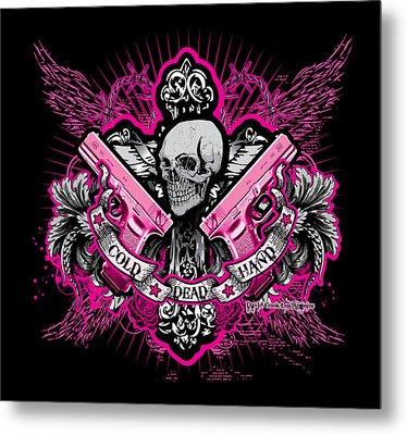 Dcla Cold Dead Hands Skull Cross 1911 Pink Metal Print