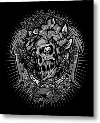 Dcla Cold Dead Hands Zombie Gray Metal Print