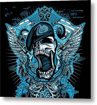 Dcla Designed Skull Combat Medic Metal Print by David Cook Los Angeles