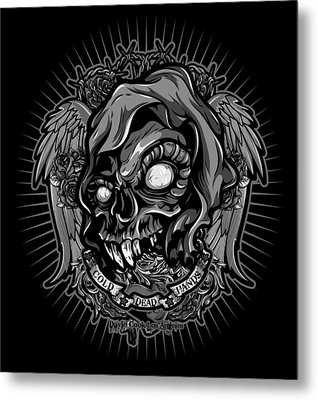 Dcla Skull Cold Dead Hand Gray 3 Metal Print by David Cook Los Angeles