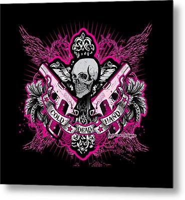 Dcla Skull Cross Cold Dead Hand Pink Metal Print