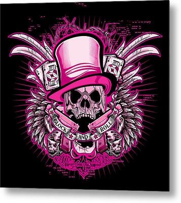 Dcla Skull Glock And Roll Pink Metal Print