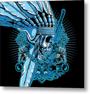 Dcla Skull Indian Chief 2 Metal Print