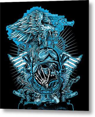 Dcla Skull Soldiers Cross Metal Print