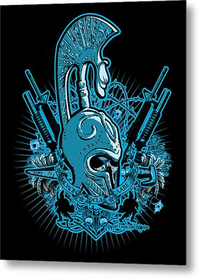 Dcla Skull Spartan Marine Molan Labe 4 Metal Print