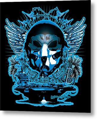 Dcla Skull Top Gun Pilot Metal Print