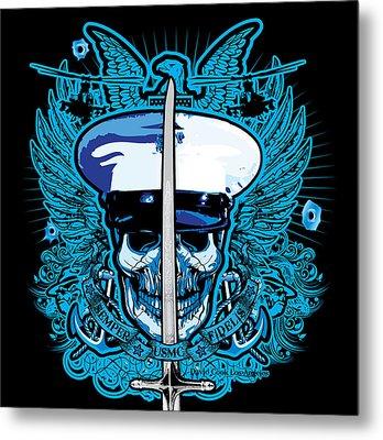 Dcla Skull Usmc Nco With Mameluke Sabre Sword Metal Print