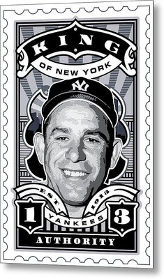 Dcla Yogi Berra Kings Of New York Stamp Artwork Metal Print by David Cook Los Angeles