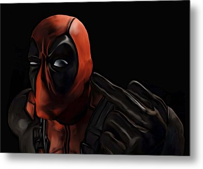 Metal Print featuring the painting Deadpool by Jeff DOttavio
