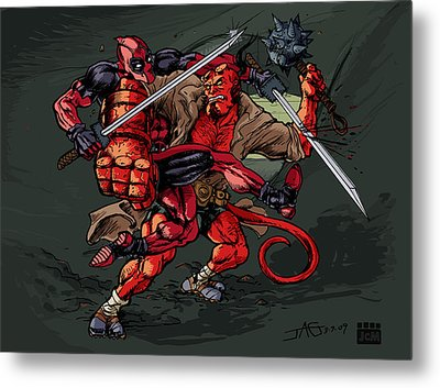 Metal Print featuring the mixed media Deadpool Vs Hellboy by John Ashton Golden
