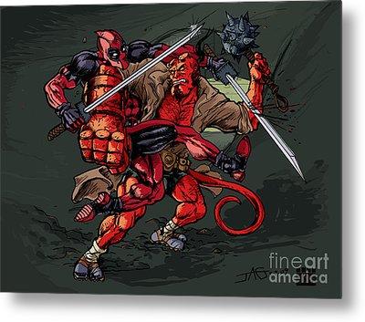 Deadpool Vs Hellboy Metal Print by John Ashton Golden