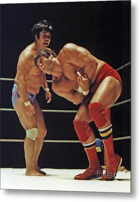 Dean Ho Vs Don Muraco In Old School Wrestling From The Cow Palace Metal Print by Jim Fitzpatrick