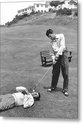 Dean Martin & Jerry Lewis Golf Metal Print by Underwood Archives