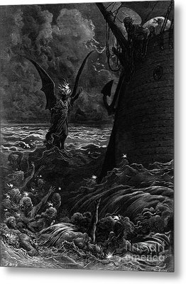 Death-fires Dancing Around The Becalmed Ship Metal Print by Gustave Dore