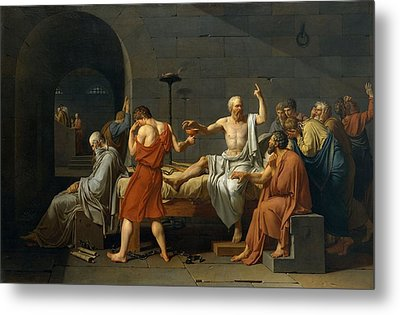 Death Of Socrates Metal Print by Jacques Louis David
