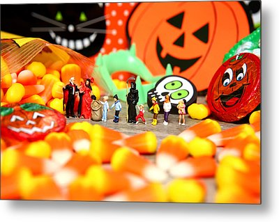 Death Takes His Kids Trick Or Treating Metal Print by Lon Casler Bixby
