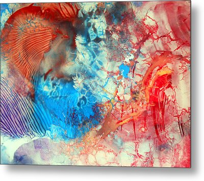 Metal Print featuring the painting Decalcomaniac Colorfield Abstraction Without Number by Otto Rapp