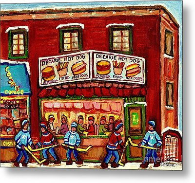 Decarie Hot Dog Restaurant Cosmix Comic Store Montreal Paintings Hockey Art Winter Scenes C Spandau Metal Print by Carole Spandau