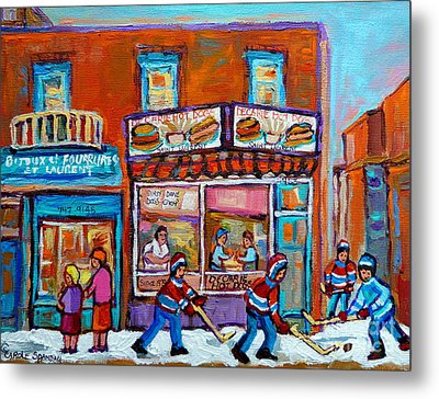 Decarie Hot Dog Restaurant Ville St. Laurent Montreal  Metal Print by Carole Spandau