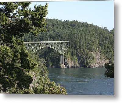 Deception Pass Bridge Iv Metal Print by Mary Gaines