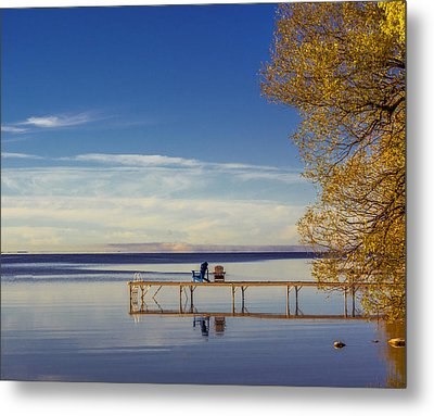 Deck Chairs On A Dock Metal Print