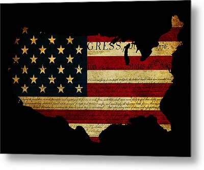 Declaration Of Independence Grunge America Map Flag Metal Print by Matthew Gibson