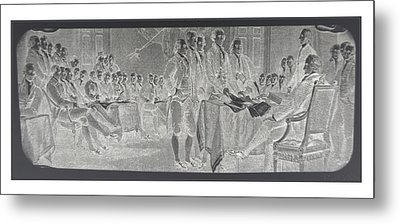 Declaration Of Independence In Negative Metal Print by Rob Hans