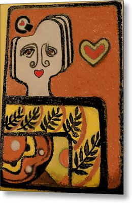 Deco Queen Of Hearts Metal Print by Carol Jacobs