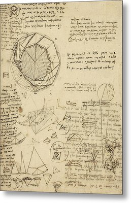 Decomposition Of Circle Into Bisangles From Atlantic Codex  Metal Print by Leonardo Da Vinci