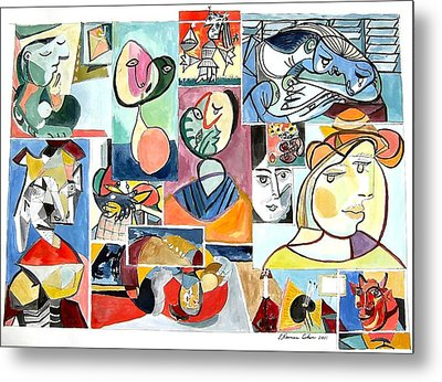 Deconstructing Picasso - Women Sad And Betrayed Metal Print by Esther Newman-Cohen
