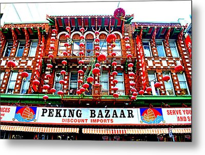Decorated Building In Chinatown In San Francisco Metal Print by Jim Fitzpatrick