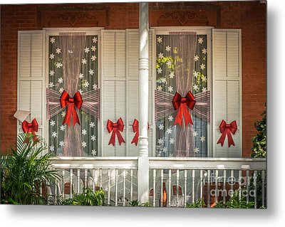 Decorated Christmas Windows Key West - Hdr Style Metal Print by Ian Monk