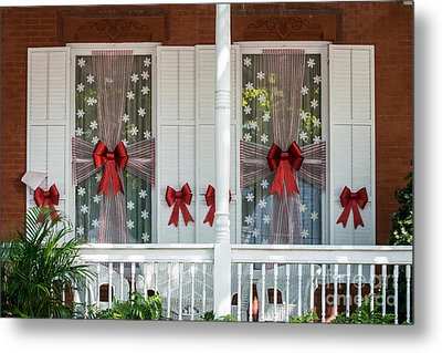 Decorated Christmas Windows Key West  Metal Print by Ian Monk