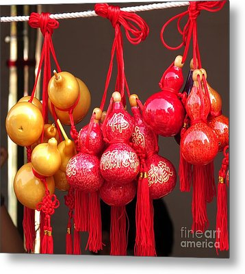 Decorated Dried Gourds Metal Print