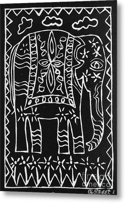 Decorated Elephant Metal Print by Caroline Street