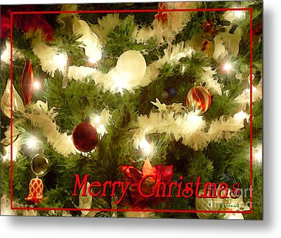 Decorated Tree Christmas Card Metal Print by E B Schmidt