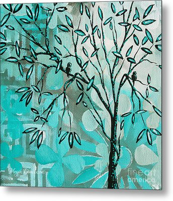 Decorative Abstract Floral Birds Landscape Painting Bird Haven I By Megan Duncanson Metal Print by Megan Duncanson