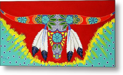 Metal Print featuring the painting Longhorn by Debbie Chamberlin