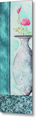 Decorative Floral Vase Painting Shabby Chic Style Relax And Unwind I By Madart Studios Metal Print by Megan Duncanson