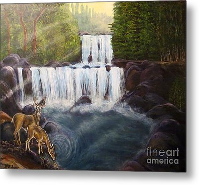 A Tall Drink Of Water For A Pair Of White Tailed Deer In The Great Smoky Mountains Metal Print by Kimberlee Baxter