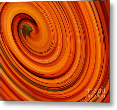 Deep Orange Abstract Metal Print by Andrea Auletta