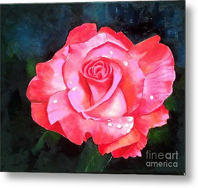 Deep Pink Rose Metal Print