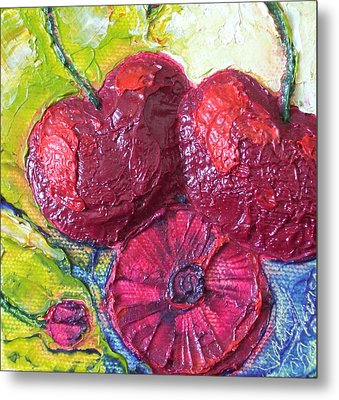 Deep Red Cherries Metal Print
