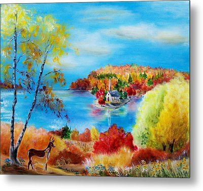 Deer And Country Church Autumn Scene Metal Print by Melanie Palmer