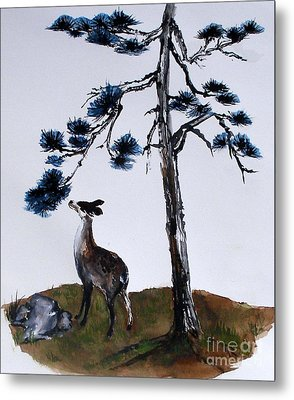 Deer And Pine Metal Print
