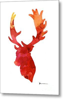 Deer Antlers Silhouette Art Print Watercolor Painting Metal Print