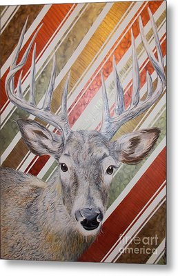 Metal Print featuring the painting Deer Deco by PainterArtist FINs husband